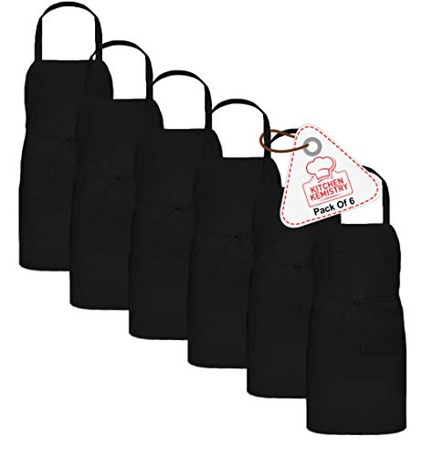 Kitchen kemistry Professional 6 Pack Food Service Restaurant HORECA Bib Apron Black