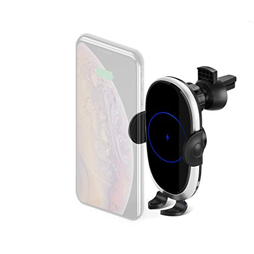 Kissarex Fast Wireless Car Charger: Qi 10W/7.5W Cell Phone Auto Cordless Holder Gravity Sensor Automatic Clamping Air Vent Mount Slot Compatible iPhone Plus Pro Max Samsung Note