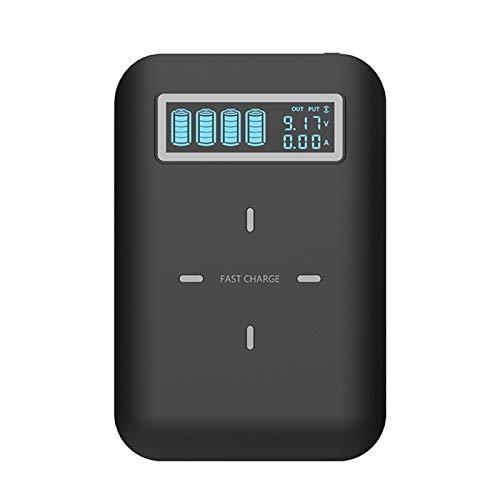 DEVELE Cargador de Batería del Banco de Energía Caja de Carga Inalámbrica de 4 Baterías de Litio 18650 Pantalla Digital Independiente Caja de Carga Rápida con 2 Salidas USB (Sin Batería)
