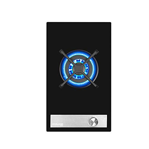 Gasland Chef GH12BF 30cm Negro Cocina de Vidrio con Placa de Gas,Integrado Superficie de Vitrocerámica,Mandos Frontales Giratorios,1 Fogones con Válvula de Seguridad.