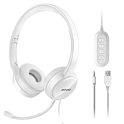 Mpow PC-Kopfhörer, Mikrofon, USB-Kopfhörer, 3,5 mm, Kopfhörer mit Kabel, Geräuschunterdrückung, kompatibel mit VoIP, Skype, PC, Handy, iPad, Büro, Teleconfe