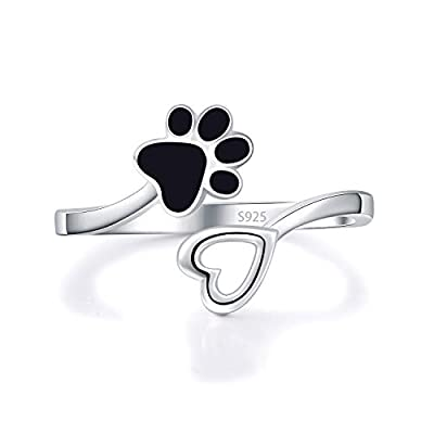 ACJFA 925 Sterling Silver Paw Print Love Heart Ring Adjustable Wrap Open Rings Animal Jewelry for Pet Dog Cat Lovers from ACJFA