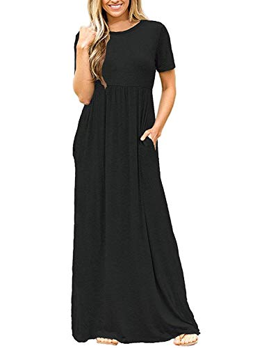 DEARCASE Women's Round Neck Short Sleeves A-line Casual Maxi Dresses with Pocket Black Medium