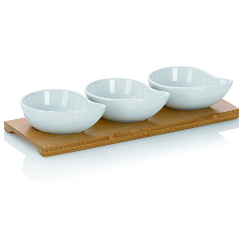 Kela 12260 Schalen-Set mit Bambusbrett, 4tlg., Tropfen, Porzellan, 26 x 10 x 4,5, Philipa, Weiß