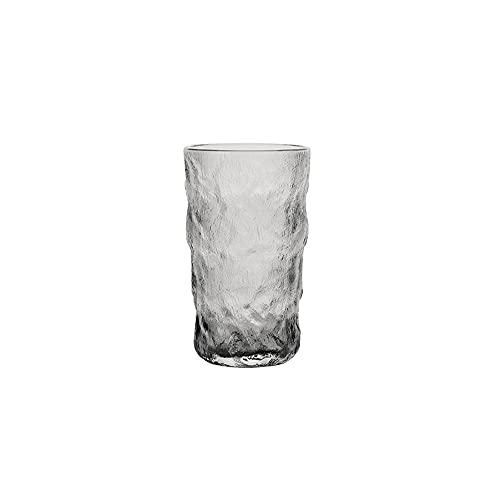 HEIYANQUANblb Botella De Agua, Copa de agua de vidrio, hogar, té, bebida de jugo de frutas, textura, irregular, redondo (transparente) Tamaño: 8.8 * 9.4 cm (Size : Medium)