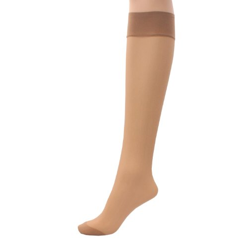 6 x Ladies/Women 100% Nylon Knee High Pop Socks with Comfort TopHosiery Size:One Size: Regular Exact Colour:Natural Appearance:15 Denier Appearance
