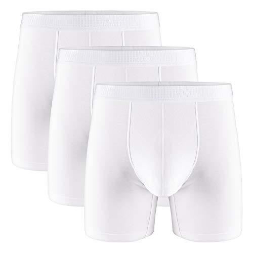 Separatec Slip da Boxer da Uomo Morbido Micro Modale con Doppia Tasca separata Intimo Boxer da 3 Confezioni Pantaloncini Ultra Comodi (L, Bianco)