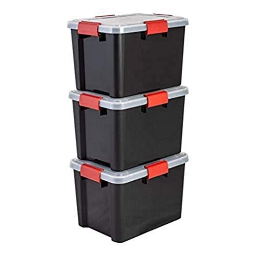 Iris Ohyama, Juego de 3 Cajas de Almacenamiento Hermética, 20 L, con Clips, Apilable, Garaje, Sótano, Ático - Air Tight Box At-Sd - Negro