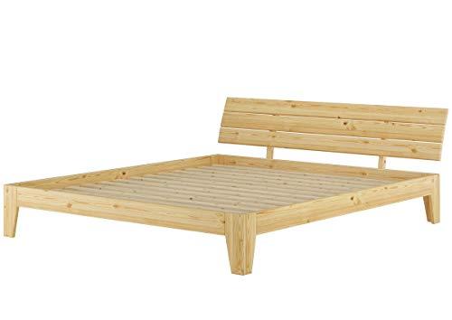 Erst-Holz Solido Largo Matrimoniale in Pino massello 180x200 con doghe rigide 60.62-18