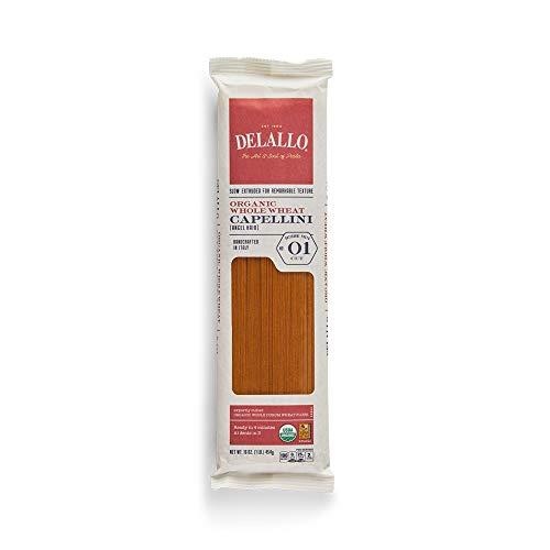 Delallo 100% Organic #1 Whole Wheat Capellini 1 LB (Pack of 16)
