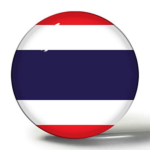 Hqiyaols Souvenir Bandera Nacional de Tailandia imán de Nevera 3D Imanes de Nevera Círculo de Cristal Pegatina Colección de Recuerdos Regalo de Viaje