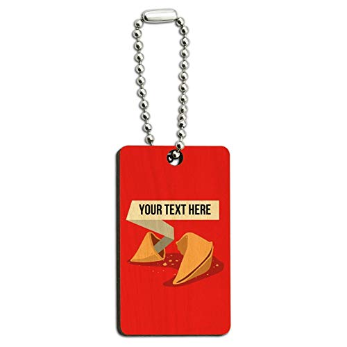 Personalized Custom Fortune Cookie Wood Wooden Rectangle Keychain Key Ring