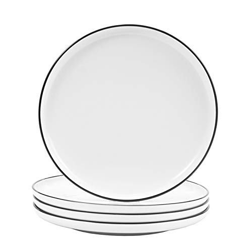 Hoxierence 8-in Ceramic White Dinner Plates, Classic Black Line Edges Round Lunch Plate, Suitable for Steak, Appetizers, Pasta, Salad, Home, Party, Restaurant - Set of 4