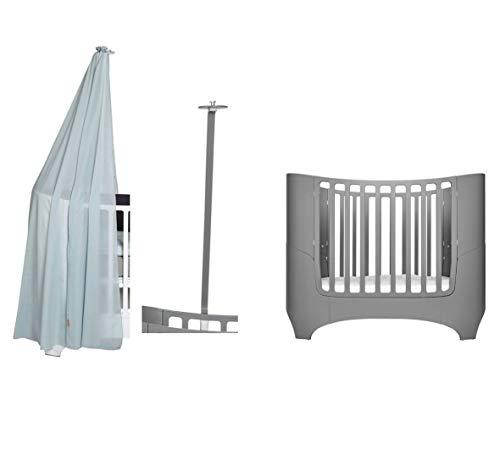 Leander Lit pour bébé et enfant – Gris + cadre de ciel gris + ciel de lit bleu misty