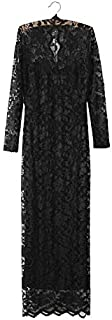Women Dress Long-sleeved V-neck Package Hip Hollow Out Full Lace Dress Black, Size: Xxl, Fyn- 8040