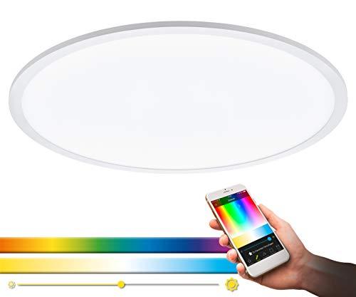 EGLO connect LED Deckenleuchte SARSINA-C Panel, Smart Home Deckenlampe, Material: Aluminium, Kunststoff, Farbe: Weiß, Ø 59,5 cm, inkl. Fernbedienung, dimmbar, Weißtöne und Farben einstellbar