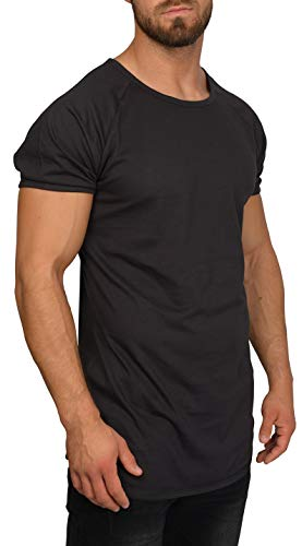 Herren Slim Fit T-Shirt mit Rundhals Ausschnitt - aus 100{ad800bc0fdcd452f6e1e0436eb3f7f97decdee786efad9fa48d20bad699f5a94} Baumwolle - Cooles Basic Männer T-Shirt Oversize - Kurzarm Longshirt - Sleeve Top Lang - Kurzarmshirt (L, Schwarz)