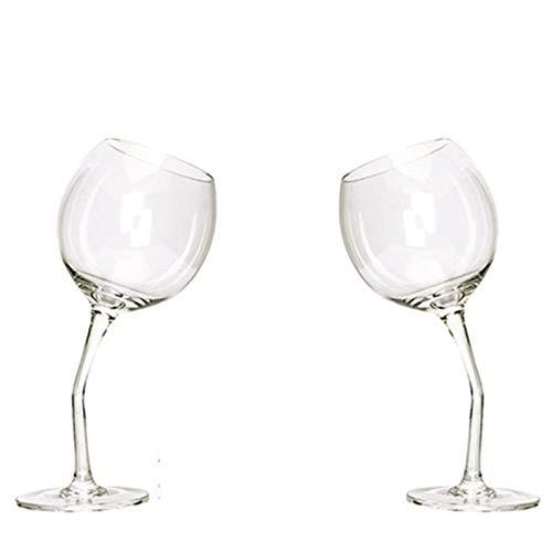 WanuigH Copa de Vino Tinto 2 Piezas de Vidrio Vino Plegable pie Copa de Vino Copa de Vino Decoración Elegante (Color : Clear, Size : 21x7.8cm)