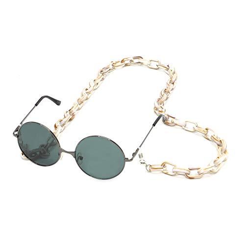 Eyeglass - Cadena de gafas para mujer, diseño vintage, resina, color verde y acrílico, gafas de sol largas colgantes, cuello y cadena, gafas unisex beige Talla única
