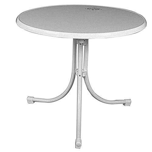 MFG 1204217 Boulevard-Klapptisch Sevelit, Durchmesser 85 x H 70 cm, Stahlrohrgestell und Tischplatte weiß