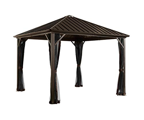 Sojag 10' x 12' Dakota Hardtop Gazebo Outdoor Sun Shelter, Black,Brown