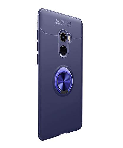Funda Xiaomi Mi Mix 2 Carcasa Delgada Silicona Suave Negro TPU Case Anti-Arañazos, con Anillo Grip Kickstand y Soporte la función de Montaje Teléfono Case para Mi Mix 2 (Xiaomi Mi Mix 2, Azul)