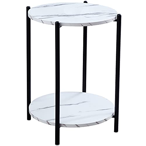 Urraca White Marble Side End Table ,2-Tier Round Bedside Table with Storage Shelf,16Dx22H(Black)
