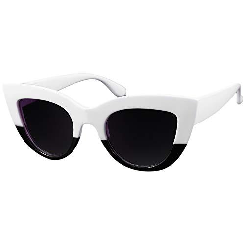 Fransande New Eye - Gafas de sol para mujer, diseño vintage, color negro y gris