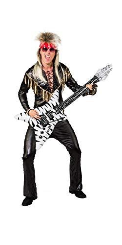 shoperama Glam Rock Herren Kostüm Rockstar Hose Shirt Fransen Schwarz/Gold, Größe:46/48