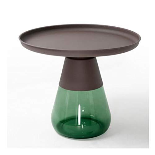 LIUTIAN Mesa de centro de vidrio de metal, mesa de rincón de almacenamiento de sala, combinación de mesa lateral, encimera helada, 60x52cm (Color : B)