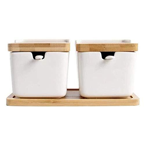 barattoli sale zucchero caffè Contenitori di stoccaggio di cibo in ceramica con coperchio di bambù- Design moderno Jar porcellanato - Canister perfetto per ciotola di zucchero che serve tè, caffè, spe
