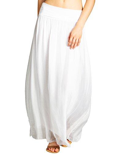 Caspar RO025 Falda de Verano Larga para Mujer con Pretina Elástica, Color:Blanco, Talla:S/M