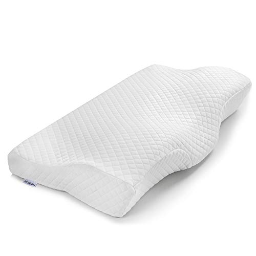 Ximoon Memory Foam Pillow for Sleeping, Cervical Pillow for Side Sleepers, Orthopedic Contour Pillow for Neck Back Shoulder Pain , Washable Pillowcase with Zipper