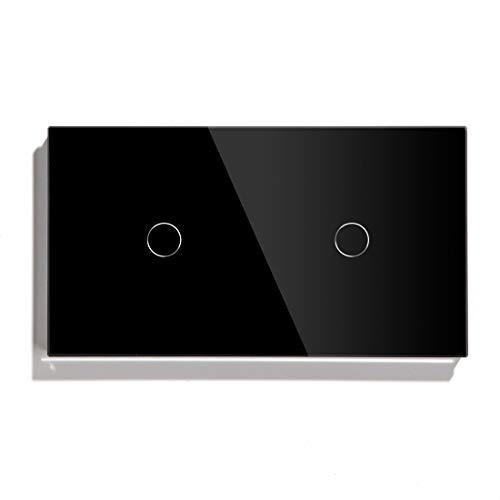 BSEED Interruptor de Luz Inteligente Alexa Interruptor de Luz De Pared Táctil WIFI Doble 1 Gang 1 Vía (Se Requiere Corriente Neutra) Panel de Vidrio Compatible con Alexa/Tuya/Google Home 157*86 Negro