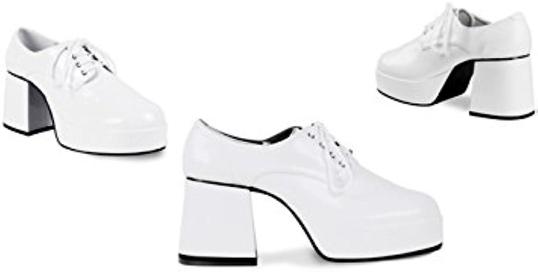 Mens 70s White Disco Boogie Platform shoes EU41 UK7.5