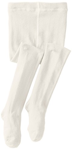 Jefferies Socks Big Girls' Seamless Organic Cotton Tights, Ivory, 8-10 Years