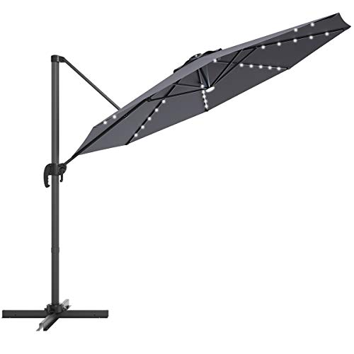 SPSUPE 8 FT Cantilever Umbrella, Patio Solar Umbrella with 360 Degree Rotation, Solar Powered LED Umbrella with Cross Base, Outdoor Market Umbrella for Garden Deck Backyard Pool Beach (Grey)