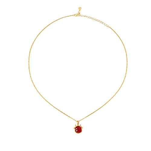 wanhaishop Joyas/Collares Ciudad Prohibida Año del OX Red Agate Necklace Niche Creative Cumpleaños Año Nuevo Regalo Colgantes de Mujer