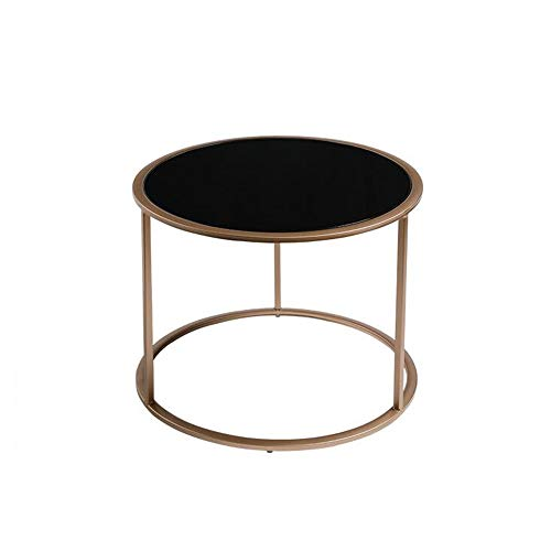 YUMEIGE-TAVOLI Tavolino Rotondo da Salotto , Tavolino da Balcone in Vetro , Tavolino da caffè in Metallo , Snack, Tablet Tavolino (Color : Black+Gold, Size : 22.04 * 22.04 * 17.71in)