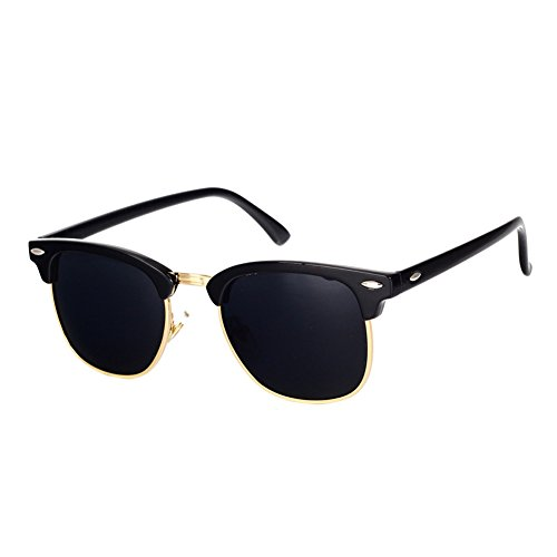 Pro Acme Classic Semi Rimless Polarized Sunglasses with Metal Rivets (Black/Gold Rimmed)