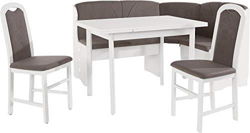 Eckbankgruppen Weiss Eckbank Tisch 2 Stühle Weiss (3687)