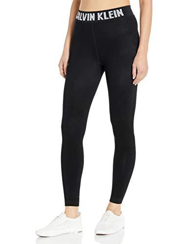 Calvin Klein Medias para mujer - Medias de algodón peinado negro sin pies (paquete de 1), moderno leggings con logotipo de algodón., L, Negro