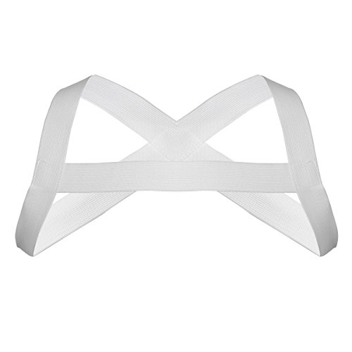 FEESHOW Men's Strong Nylon Body Chest Harness Elastic Shoulder Strap White X-Shape Back One Size
