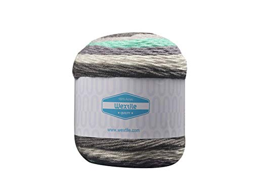 Big Cakes Self Striping Yarn- Wextile Acrylic Multicolor Wonderful Knitting Roll Perfect for Crochet & Knitting, 350 Meters 380 Yards per Ball (#18)