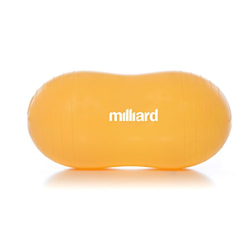 Milliard Peanut Ball Orange Approximately 23x12 inch (60x30cm) Physio Roll for Exercise, Therapy, Labor Birthing and Dog Training