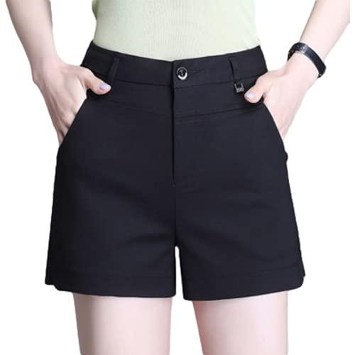 Señoras Verano Pantalones Cortos con Botones de Cremallera de Cintura Alta Pantalones Cortos Rectos Delgados de Color sólido de Moda Casual XX-Large