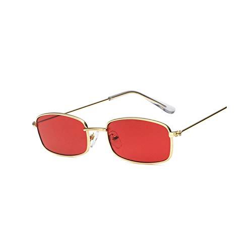 FGRYGF-eyewear2 Sport-Sonnenbrillen, Vintage Sonnenbrillen, Metal Frame Sunglasses Men Retro Small Square Sun Glasses Women Yellow Lens Small Cat Eye Sunglass Female Shades Eyeglass Red