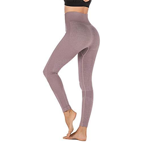 YLBH Yoga Strumpfhose Frauen Sport Fitness Hose Taille Taille HüFten Enge Yogahose Strandhose Sporthose Damen Leggings Damen Leggins Sporthose FüR Sportleggins Braun S