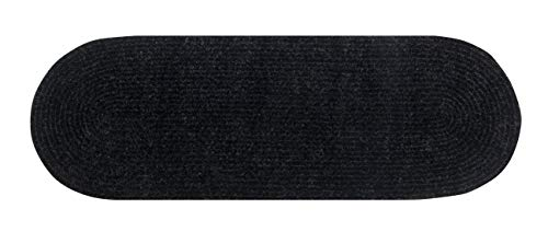 Chenille Reversible Solid Braided Rugs Black