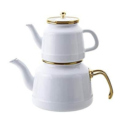 Emsan Troy Kettle Nostalgia Enamel Vintage Teapots, Teakettle, Titanium Coated,Top Teapot 2.7 Quart, Bottom Teapot 1.15 Quart (White)
